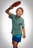 Gray sport tennis table boy young fun play racket playing ping p Stock Photo