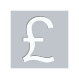 Gray square with currency symbol of sterling pound Royalty Free Stock Photography