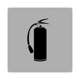 Gray square frame with silhouette fire extinguisher icon Stock Images