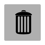 gray square frame with silhouette metal trash bin Stock Image
