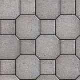 Gray Square and Octagon Paving Slabs. Stock Image