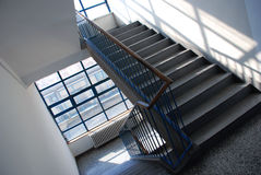 Gray staircase. View in public institution Stock Photos