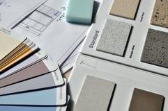 Gray Standard Color Book Near Green Eraser Royalty Free Stock Photos