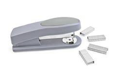Gray stapler with staples Stock Photos