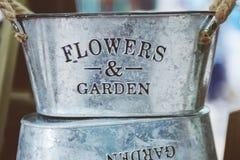 Gray Steel Flower and Garden Bucket Stock Photography