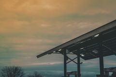 Gray Steel Roof at Sunset Stock Image