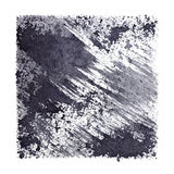 Gray stenciled square with stains and brush strokes Royalty Free Stock Photo