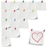 Gray Stickers Colored Pins Heart Immagini Stock Libere da Diritti