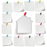 Gray Stickers Colored Thumbtacks House. Infographic with gray stickers and colored thumbtacks on the white background stock illustration