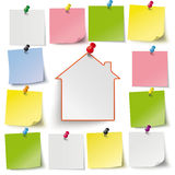 Gray Stickers Colored Thumbtacks House Royalty Free Stock Photos