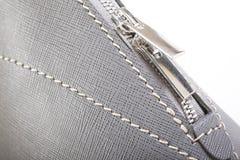 Gray Stitched Leather Handbag Royalty Free Stock Photo