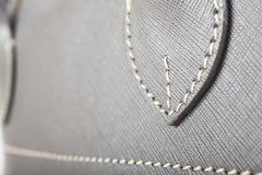 Gray Stitched Leather Handbag Royalty Free Stock Image