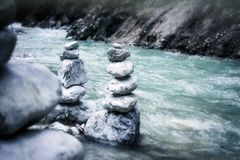 Gray Stock Pile Stone Near River in Gray Scale Photo Royalty Free Stock Photos