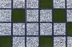 Gray stone  and artificial grass backdrop for background Royalty Free Stock Image