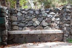 Gray stone bench Stock Photo