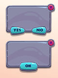 Gray stone cartoon panels. For game or web UI, including yes/no and Ok buttons vector illustration