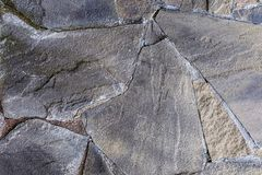 Gray stone crack surface stone cement line joints plate wall weathered rigid foundation stock image