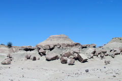 Gray stone desert landscape. Gray stone desert. Wind and water eroded rock formations of gray and white stone in Ischigualasto Provincial Park, Parque Provincial stock images