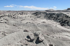 Gray stone desert. Wind and water eroded rock formations of gray and white stone in Ischigualasto Provincial Park, Parque Provincial Ischigualasto, valle de la Royalty Free Stock Images