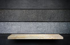 Stone rock shelf counter for product display stock images