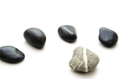 Gray stone with stripe and black stones Royalty Free Stock Photography