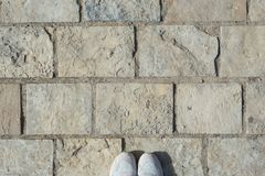 Gray stone wall background stock photos