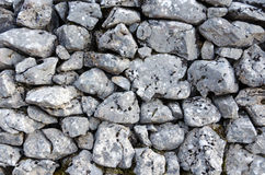 Gray stone wall without mortar. Traditional stone wall without mortar Royalty Free Stock Images
