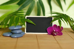 Gray stones arranged in Zen lifestyle with an orchid, a lighted candle, a bamboo branch and foliage and an empty message slate Stock Image