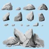 Gray stones set Royalty Free Stock Image