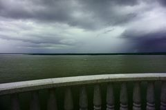 Before storm. Amur river Khabarovsk Russia royalty free stock photo