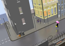 Gray street. Street on a gray rainy day, girl with a pink umbrella crossing the street, 3D illustration, raster illustration Royalty Free Stock Photo