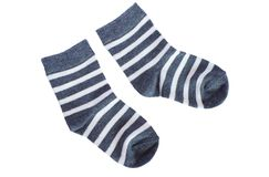 Gray striped baby socks on white background Royalty Free Stock Image