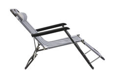 Gray striped beach chair isolated Stock Photo
