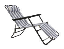 Gray striped beach chair isolated. On white background Stock Image