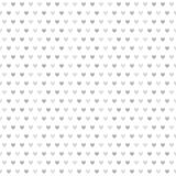Gray striped heart pattern. Seamless vector background. Dark and light gray hearts of different size on white backdrop Stock Photo