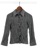 Gray Striped Shirt On White Background Stock Photography
