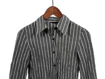 Gray Striped Shirt On Wooden Hanger, Isolated Stock Photo