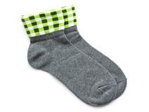 Gray striped socks isolated on white. Background Stock Image