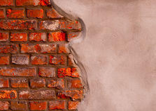 Gray Stucco on a  brick wall Stock Photos