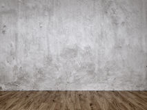 Gray Stucco Concrete Wall and Wooden Floor Royalty Free Stock Photography
