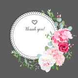 Gray stylish floral vector design card Royalty Free Stock Photography