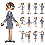 Gray suit business woman in hand painted Stock Photography