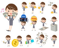 Gray suit business woman about the money. Set of various poses of Gray suit business woman about the money Royalty Free Stock Image