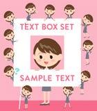 Gray suit business woman text box. Set of various poses of Gray suit business woman text box Stock Photos