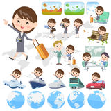 Gray suit business woman travel. Set of various poses of Gray suit business woman travel Stock Images