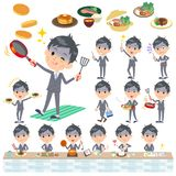Gray Suit Businessman Bad condition_cooking Illustration de Vecteur