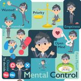 Gray Suit Businessman Bad condition_Mental et volonté Illustration Stock