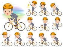 Gray Suit Businessman on rode bicycle. Set of various poses of Gray Suit Businessman on rode bicycle Royalty Free Stock Photos