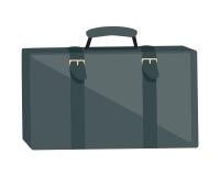 Gray Suitcase Isolated sur le blanc Vacances d'été Image libre de droits