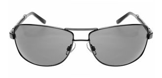 Gray Sunglasses. Straight frontal view of dark glasses. Isolated on White royalty free stock images